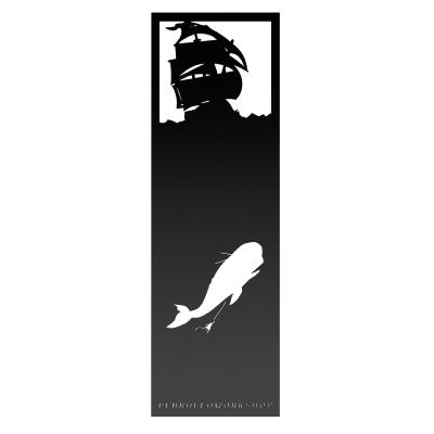 Marque-page Silhouette Moby Dick 17x5.5cm Noir PerroFeo Workshop