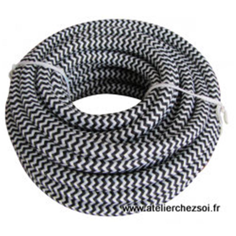 Cable lectrique rond tissu ray blanc et noir 4 m tres de - Cable electrique tissu ...