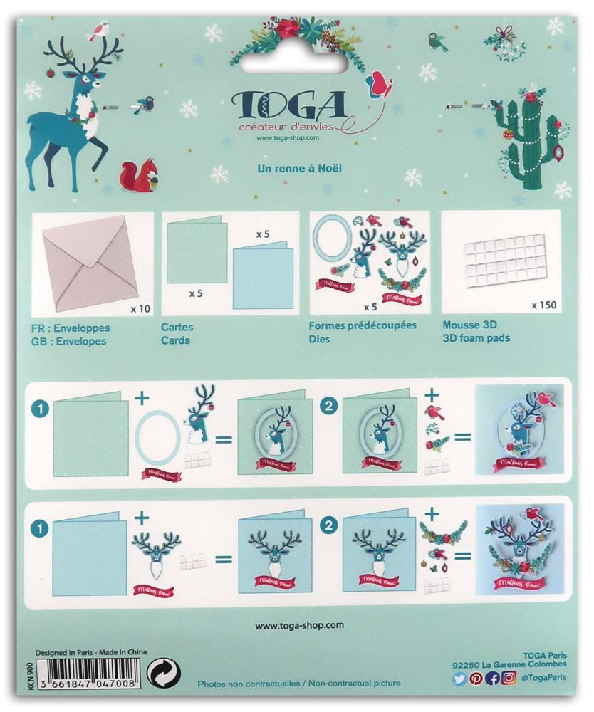 Carte De Voeux 3D A Fabriquer kit de 10 cartes de voeux 13x13 cm à fabriquer un renne à noël et 10  enveloppes toga