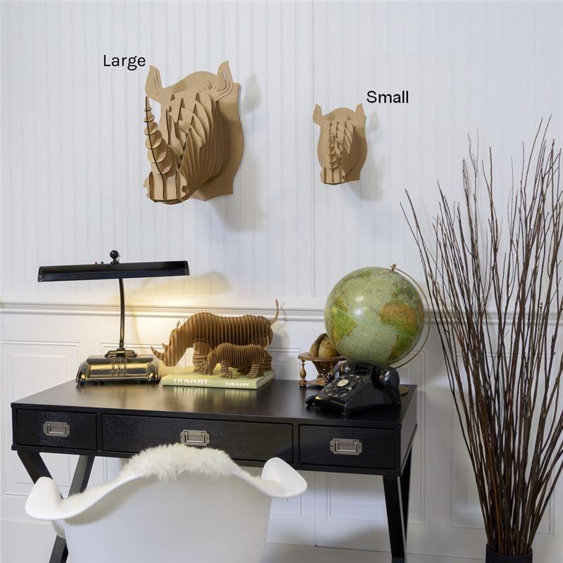 petit troph e t te de rhinoc ros en carton brun de l 39 atelier chez soi. Black Bedroom Furniture Sets. Home Design Ideas