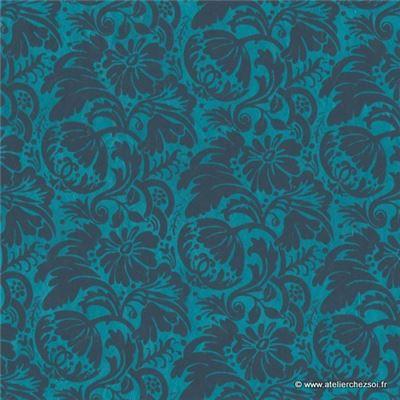 papier n palais floral bleu 50x75 cm de l 39 atelier chez soi. Black Bedroom Furniture Sets. Home Design Ideas