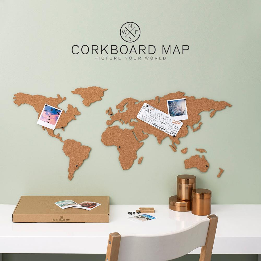 carte du monde en li ge coller au mur planisph re cork 100x46cm. Black Bedroom Furniture Sets. Home Design Ideas