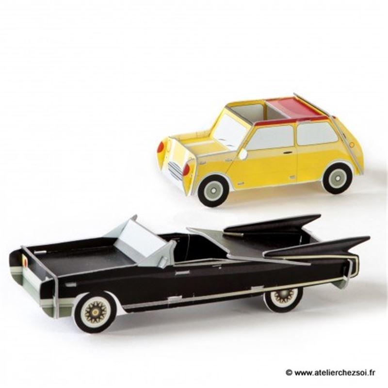 voitures en carton noire et jaune studioroof de l 39 atelier. Black Bedroom Furniture Sets. Home Design Ideas