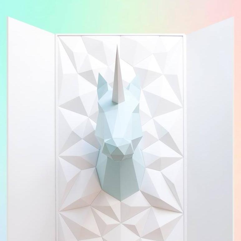 Souvent Kit Trophée Origami Licorne Cheval Papier à fabriquer YI97