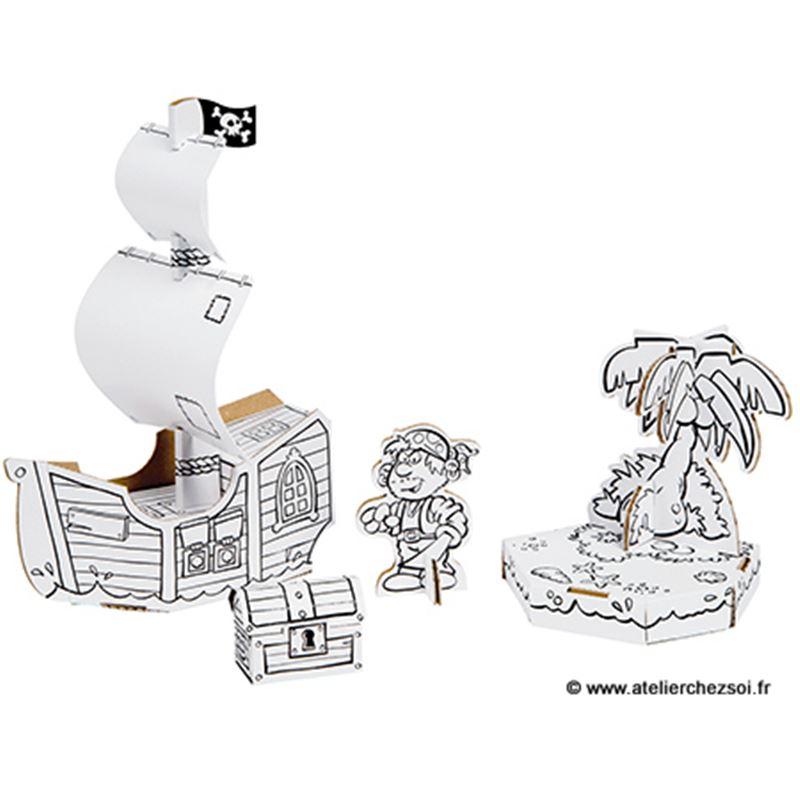 bateau pirate en carton colorier 12 feutres inclus. Black Bedroom Furniture Sets. Home Design Ideas