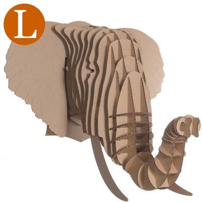 troph e t te d 39 elephant en carton brun grand de l 39 atelier chez soi. Black Bedroom Furniture Sets. Home Design Ideas