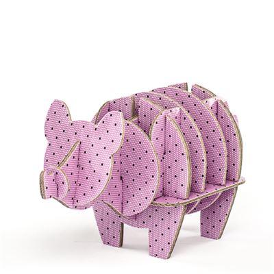 cochon en carton rose plumetis taille xs cocorikraft de l 39 atelier chez soi. Black Bedroom Furniture Sets. Home Design Ideas