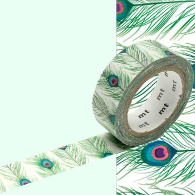 Masking Tape Motif Plumes Paon Rouleau 15mm X 7m