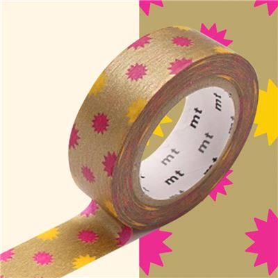 Masking Tape motif Soleil Or Rouleau 15mm x 10m