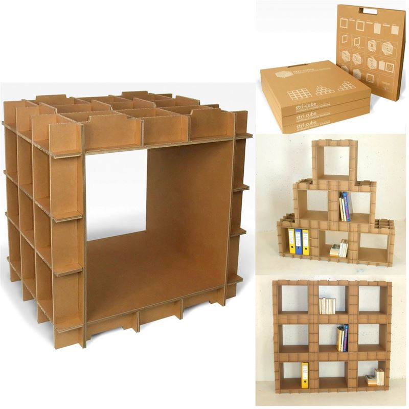 module de rangement en carton stri cube de l 39 atelier chez soi. Black Bedroom Furniture Sets. Home Design Ideas