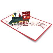 Carte pop-up Noël Train du Père-Noël 13x16 cm Wonkard