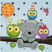 Kit Broderie Diamant Carte 18x18cm Hibou Ourson Crystal Art
