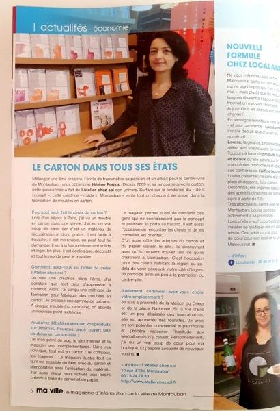 Presse atelier chez soi magazine ma ville montauban for Magazine decoration chez soi