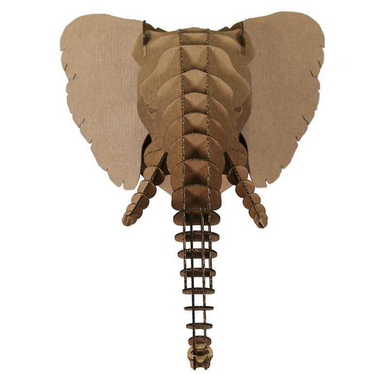 Troph e t te d 39 elephant en carton brun xxl animatomy - Tete d elephant mural ...