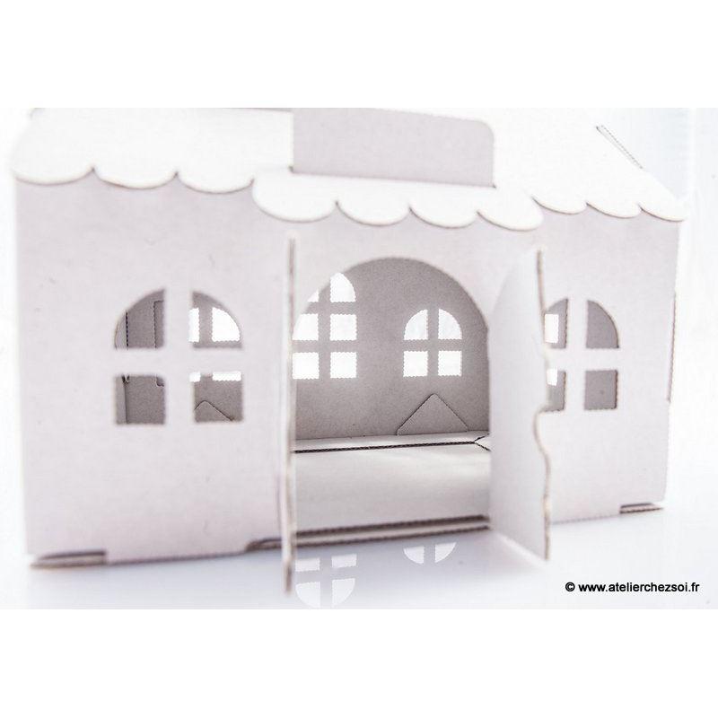 Maison tirelire en carton blanc construire leolandia for Construire meuble en carton