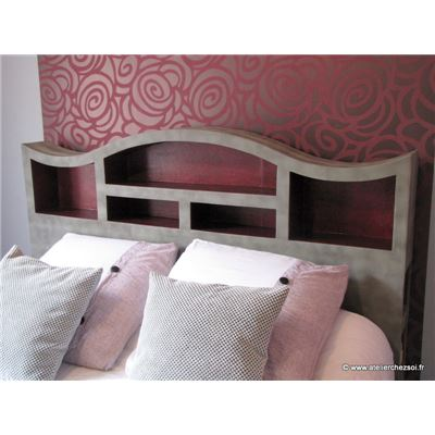 t te de lit en carton halba d coration similicuir gris et papier framboise. Black Bedroom Furniture Sets. Home Design Ideas
