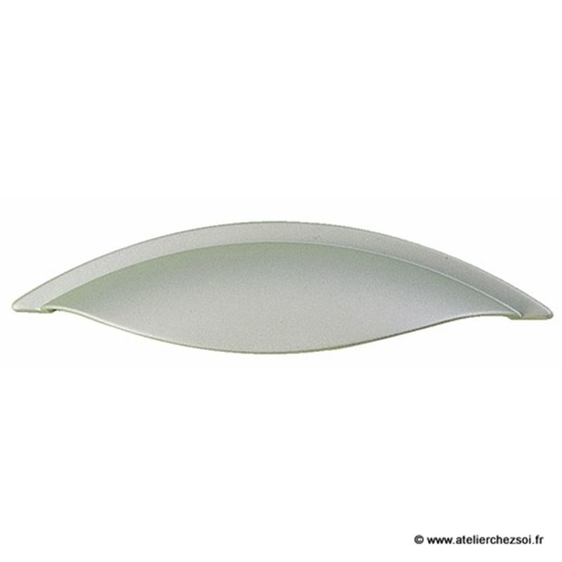 Poign e de meuble coquille moderne aluminium 130mm de l for Poignee de meuble coquille