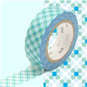 Masking Tape motif Oboro point Bleu Rouleau 15mm x 10m
