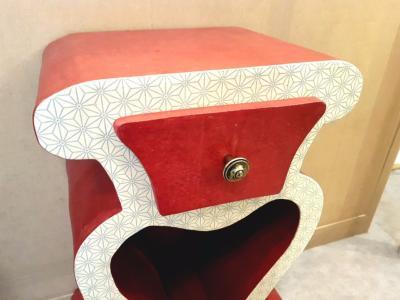 chevet en carton hemma d cor de papier n palais rouge et blanc. Black Bedroom Furniture Sets. Home Design Ideas