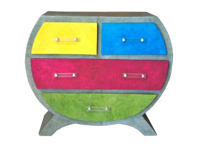 commode en carton color e par anne d coration papier. Black Bedroom Furniture Sets. Home Design Ideas