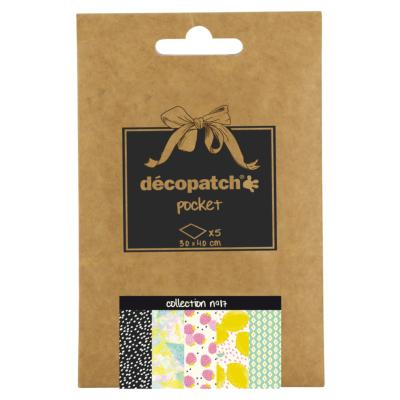 Papier Decopatch Pocket 5 feuilles 30x40cm assorties Collection n°17